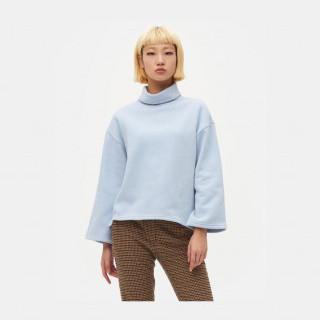 스카이 블루 터틀넥 언밸런스 티셔츠