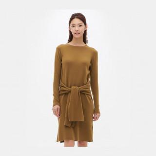 옐로이시 브라운 H라인 니트 드레스