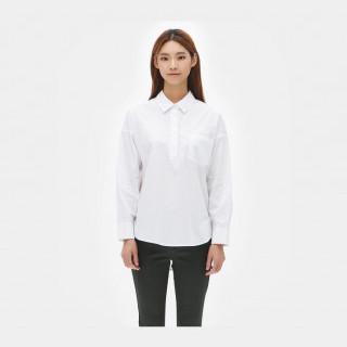 화이트 드롭숄더 헨리넥 셔츠