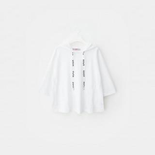 화이트 삐딱하게 후드 티셔츠
