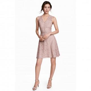 V넥 레이스 드레스