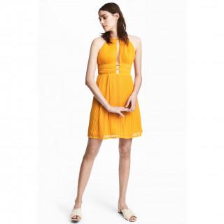플리츠 홀터넥 드레스
