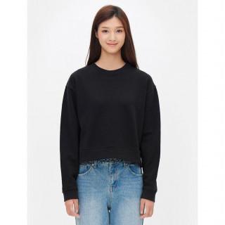 블랙 크롭트 라운드넥 스웨트 셔츠