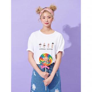 화이트 쉬림프 프렌즈 티셔츠