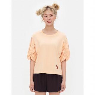 새먼 새우 엠브로이더리 러플 티셔츠