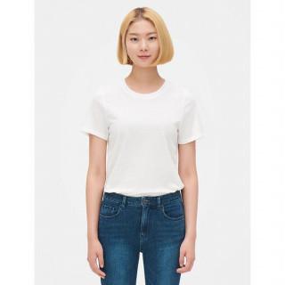 화이트 라운드넥 솔리드 반소매 티셔츠