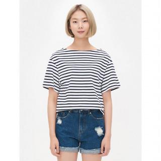 네이비 보트넥 스트라이프 반소매 티셔츠