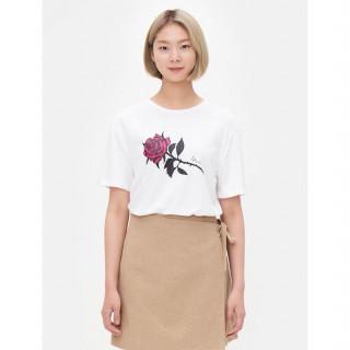 화이트 로즈 프린트 티셔츠