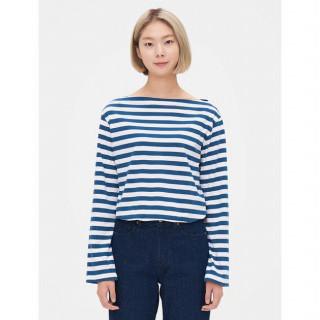 블루 스트라이프  소매 슬릿 보트넥 티셔츠
