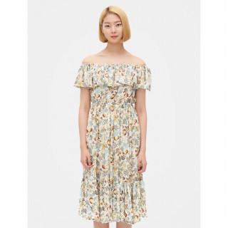 아이보리 보태니컬 러플 오프숄더 롱 드레스