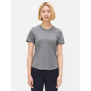 애쉬 라운드넥 솔리드 반소매 티셔츠