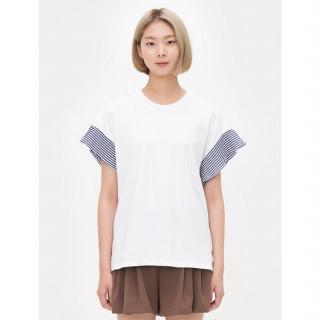 화이트 스트라이프 플리츠 반소매 티셔츠