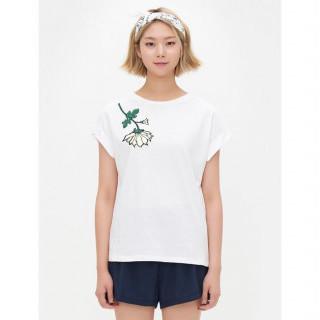 화이트 플라워 자수 배트윙 소매 티셔츠