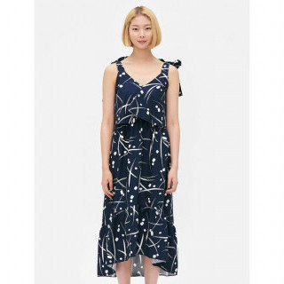 네이비 트로피컬 리본 숄더 롱 드레스