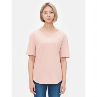 라이트 핑크 슬릿 소매 자수 포인트 티셔츠