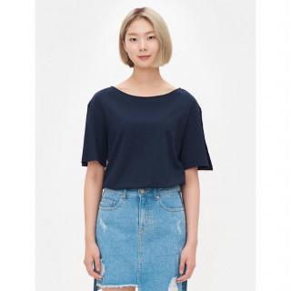 네이비 슬릿 소매 자수 포인트 티셔츠