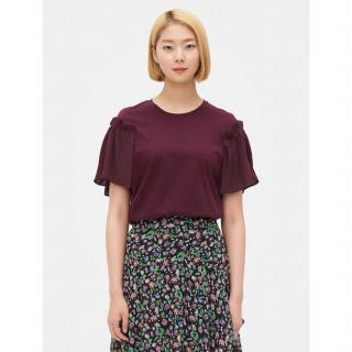 와인 러플 숄더 반소매 티셔츠