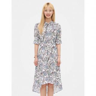 화이트 플라워 언밸런스 헴라인 롱 드레스