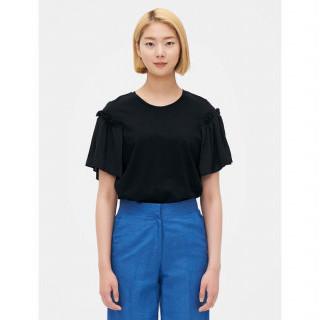 블랙 러플 숄더 반소매 티셔츠