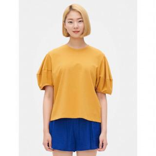 머스터드 퍼프 슬리브 반소매 티셔츠