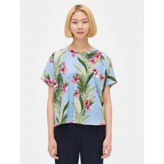 스카이 블루 플라워 배트윙 슬리브 반소매 티셔츠