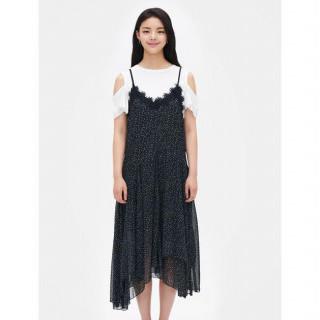 블랙 레이스 패치 피나포어 롱 드레스