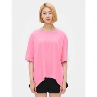 핑크 백 셔링 반소매 티셔츠