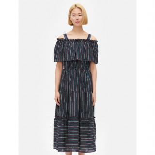 네이비 스트라이프 콜드숄더 롱 드레스