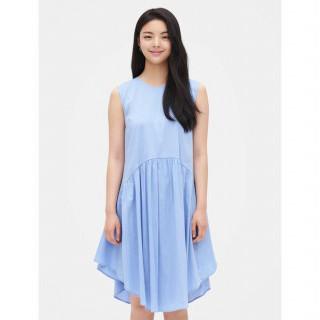스카이 블루 플레어 슬리브리스 드레스