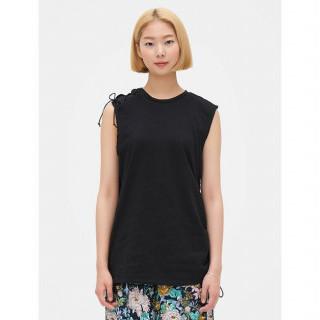 블랙 레이스업 슬리브리스 티셔츠