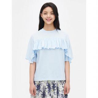 스카이블루 러플 루즈핏 반소매 티셔츠
