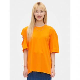오렌지 언밸런스 컷아웃 숄더 티셔츠