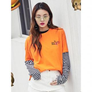 오렌지 원포인트 그래픽 티셔츠