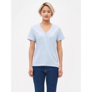 스카이 블루 브이넥 베이직 반소매 티셔츠